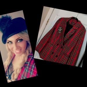 Punk plaid  double breasted  blazer